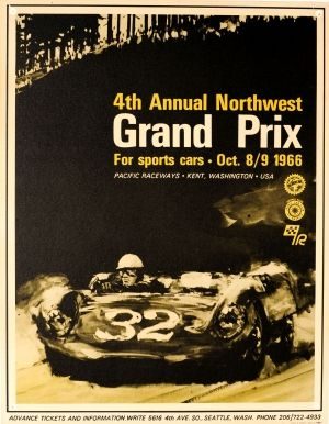 Grand Prix Sports Cars USA Porsche 1966 - original vintage poster listed on AntikBar.co.uk