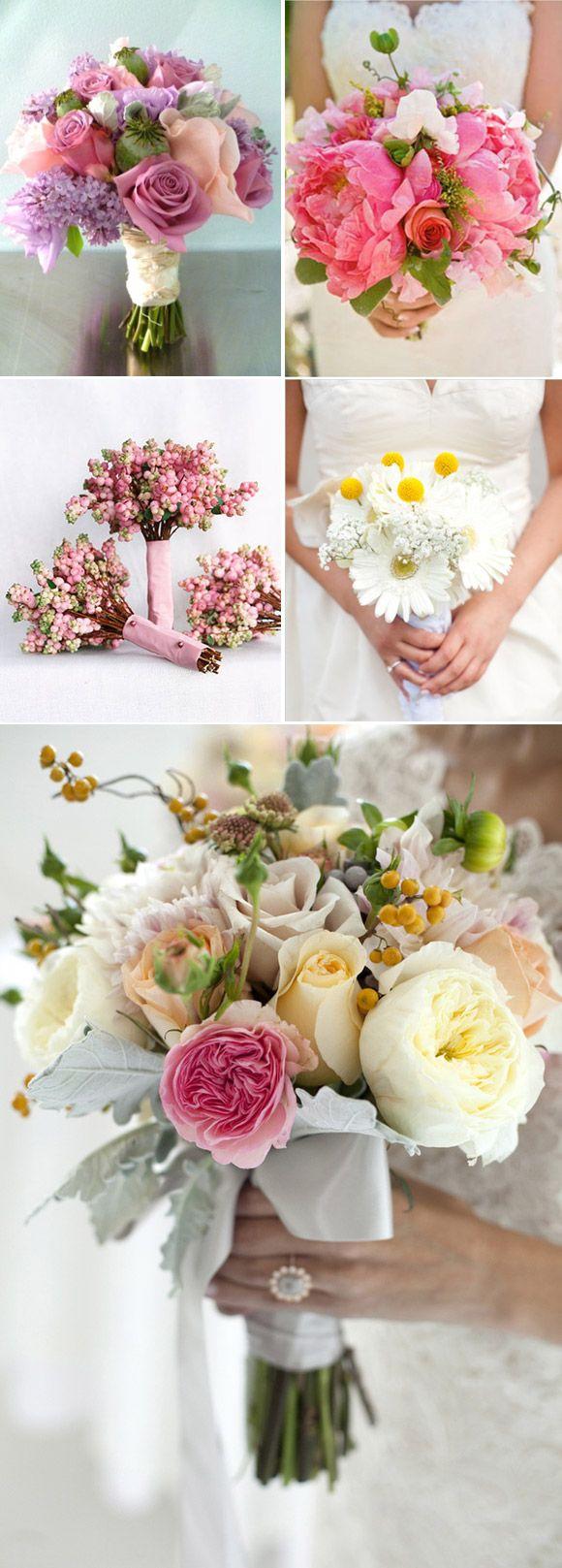 Ramos de novia en colores primaverales. Spring wedding bouquets