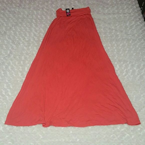 """FINAL PRICE - 2B bebe Coral Maxi Skirt - size smal New with tags - flowy - foldover waist - 95% rayon - 5% spandex - color is coral - size small - 50"""" total length with waist unfolded - super soft bebe Skirts Maxi"""
