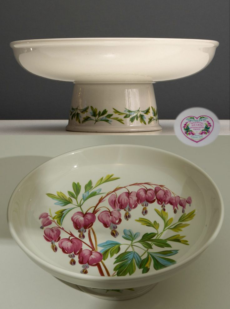 """Portmeirion Pottery Comport, Weeping Hearts Pattern, 8.5"""" diameter, 3.5"""" high. This is my most favourite Portmeirion piece, and sadly the only piece in this pattern that I own. It sits on my breakfast bar, and I use it every day for fruit."""