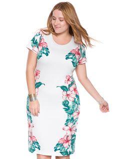Placed Hawaiian Print Dress from eloquii.com