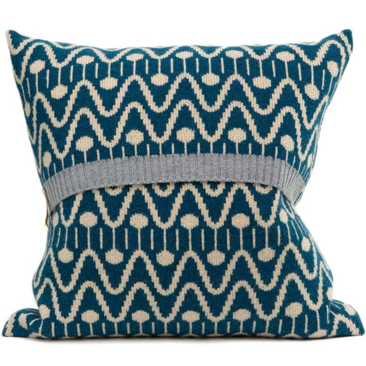 Alpine lambswool knitted cushion in blue & cream