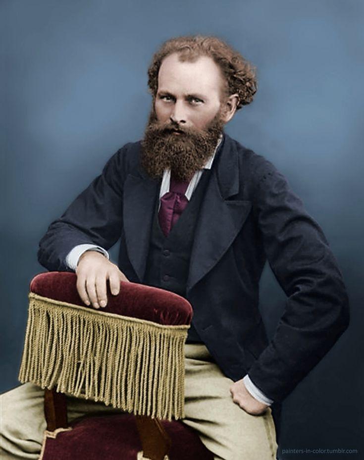 Édouard Manet (1832-1883) pintor francés considerado como uno de los fundadores del arte moderno.  Foto original en blanco y negro por Nadar, coloreada por los pintores en el color