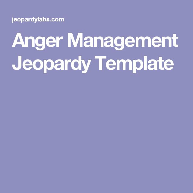 Anger Management Jeopardy Template