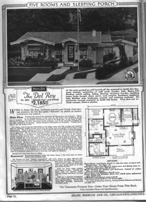 Sears Bungalows for Sale, 1921 Catalog House Plans: Sears Modern Home No. 3065, The Del Ray, circa 1921