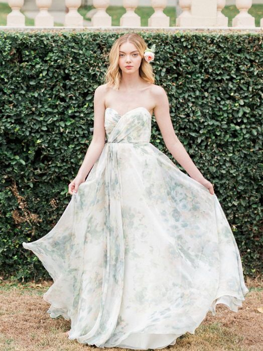 3feb855b07d1b Jenny Yoo Adeline Strapless Chiffon Gown in Ivory Sage Vintage Floral Print  #affiliate