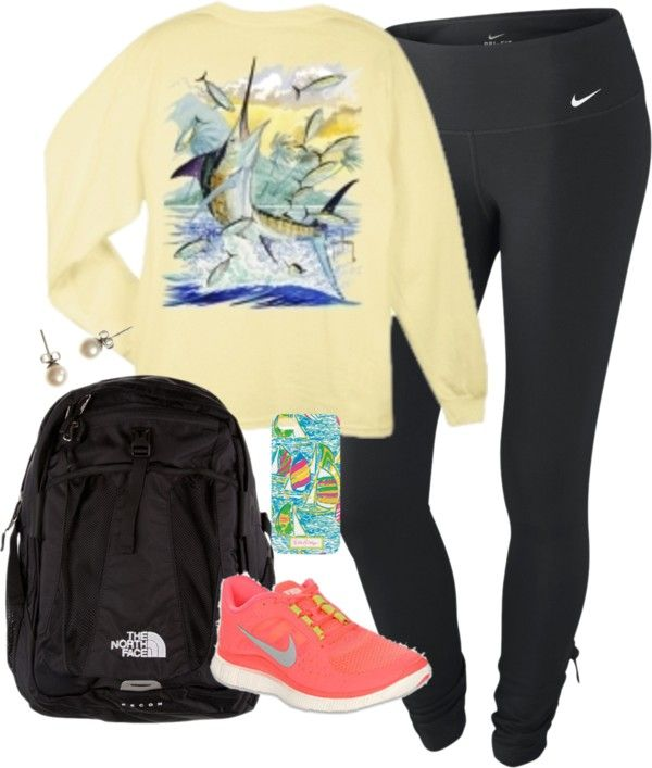 Road Trip by classically-preppy featuring Lilly Pulitzer ❤ liked on PolyvoreNIKE activewear pants, $37 / J.Crew j crew earrings / Lilly Pulitzer tech accessory / Guy Harvey Men's Island Marlin Long Sleeve T-Shirt / The North Face Recon, $145