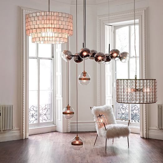 staggered glass chandelier 8 light west elm leather pinterest glass chandelier and