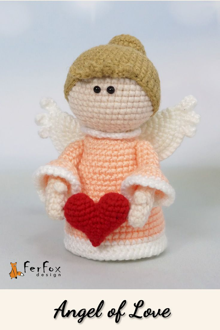 This cute little Angel is holding Valentines heart in her hands. She would be an unique gift for someone you love so much and what to give a guardian angel. #angel #doll #valentines #ferfoxdesign