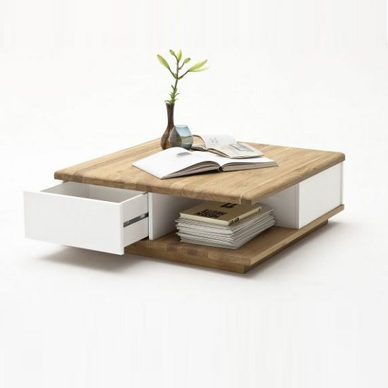 Clone Coffee Table Square In Knotty Oak And White With 2 Drawers Gives A Wooden Touch To Your Living Room Finish Features