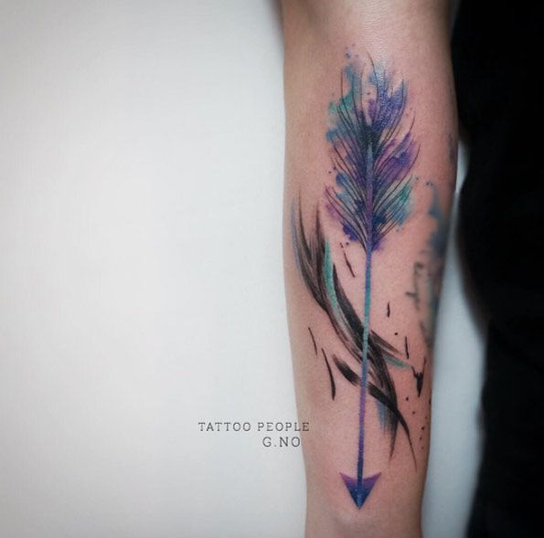 Colorful+Watercolor+Arrow+Tattoo+by+G.NO