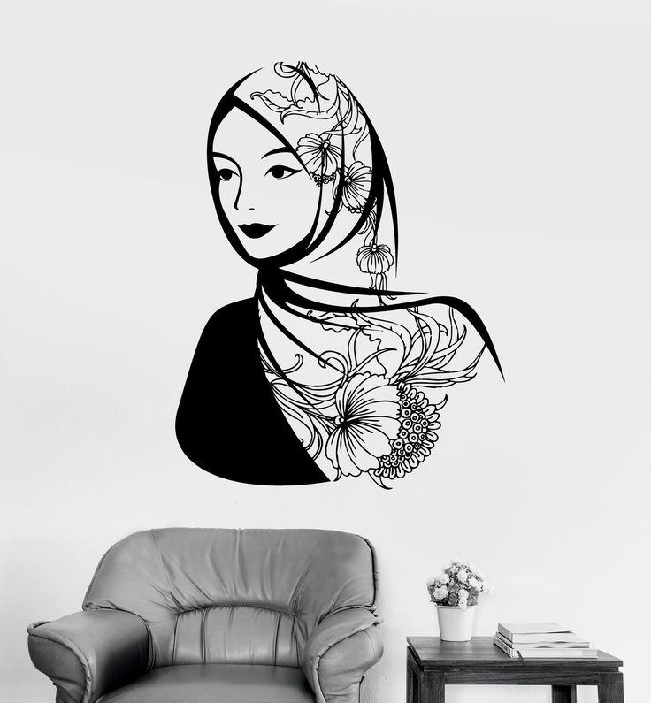 Vinyl Wall Decal Arabic Beautiful Woman Headscarf Muslim Islam Stickers Unique Gift (ig3621)