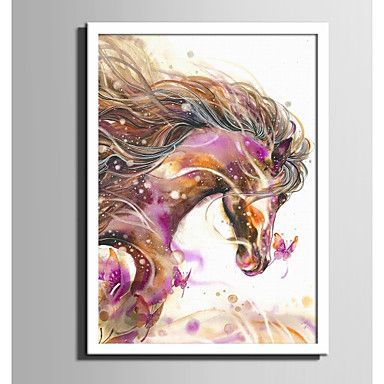 E-HOME® Framed Canvas Art Colored Horses And Butterflies Framed Canvas Print One Pcs 6191569 2017 – $38.34