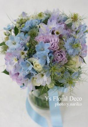 水色白薄紫のクラッチ   @グランシェール葉山庵 ys floral deco
