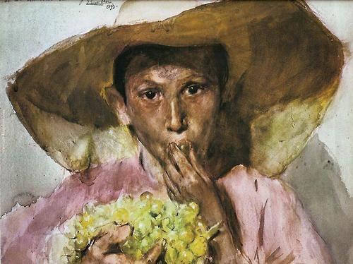 Joaquin Sorolla - Boy Eating Grapes 1890