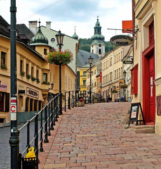 street in the town, Banska Stiavnica, historical unesco town , Slovakia .)