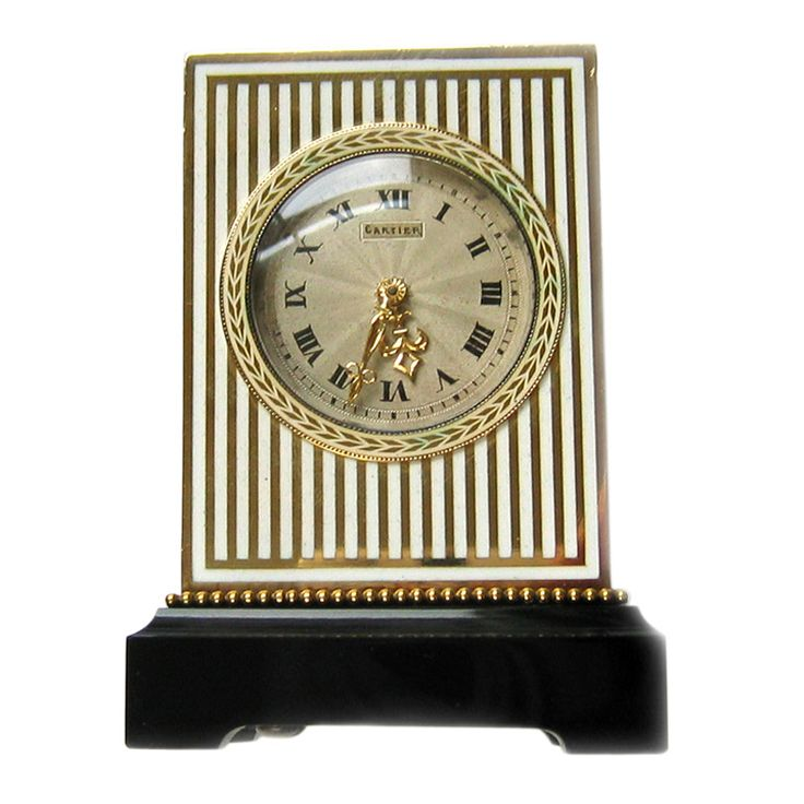 Important Cartier Art Deco Yellow Gold Onyx And Enamel Mignonette Timepiece
