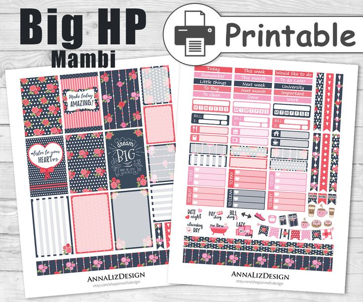 BIG Happy Planner Stickers PRINTABLE,Large Happy Planner Stickers,Mambi Happy Planner Stickers,February Planner Stickers,Shabby Chic by AnnaLizDesign on Etsy