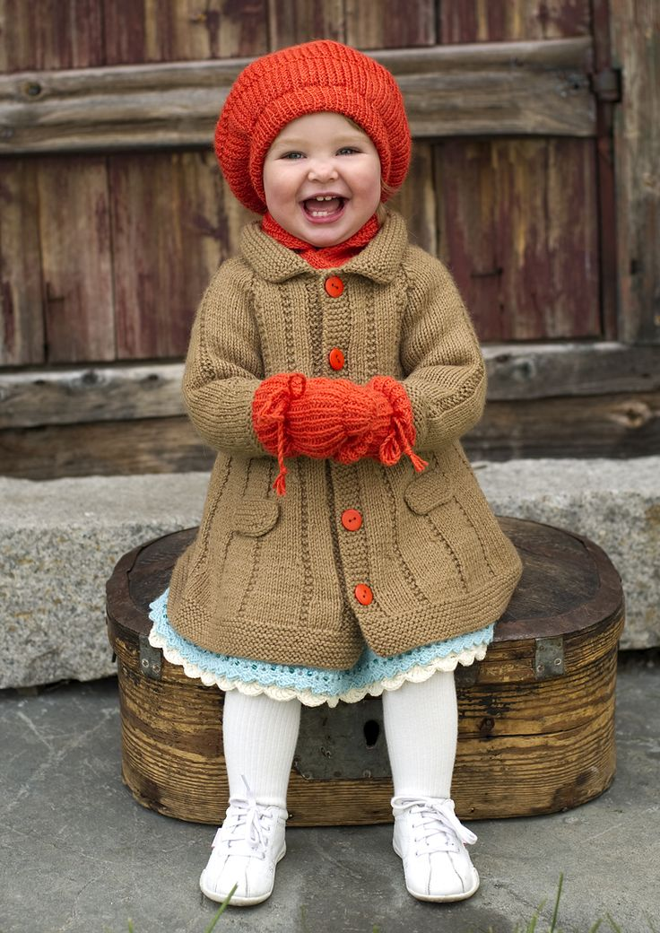 girl knit coat hat and mitts -.