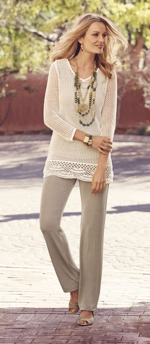 Chicos Travelers Collection Crochet Sweater - Google Search