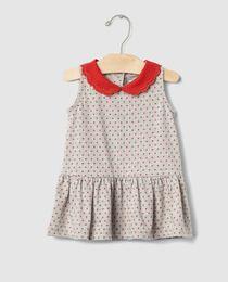 Vestido de bebé niña Gap en gris con topos