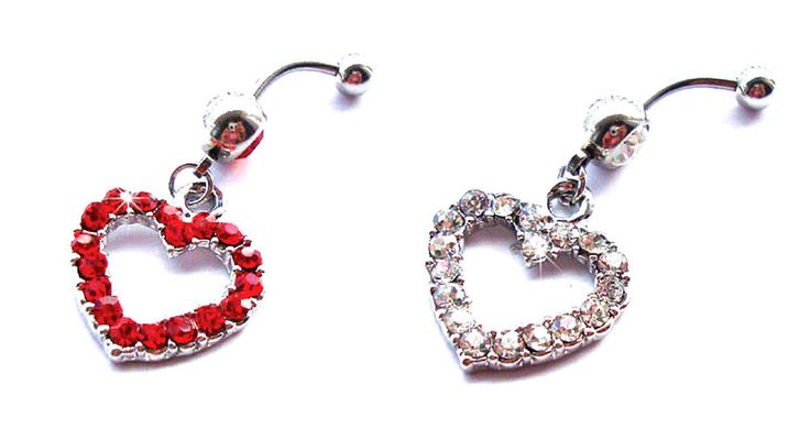 Heart Shaped Crystal Dangle Belly Navel Barbell Fancy Little Ring Body Piercing