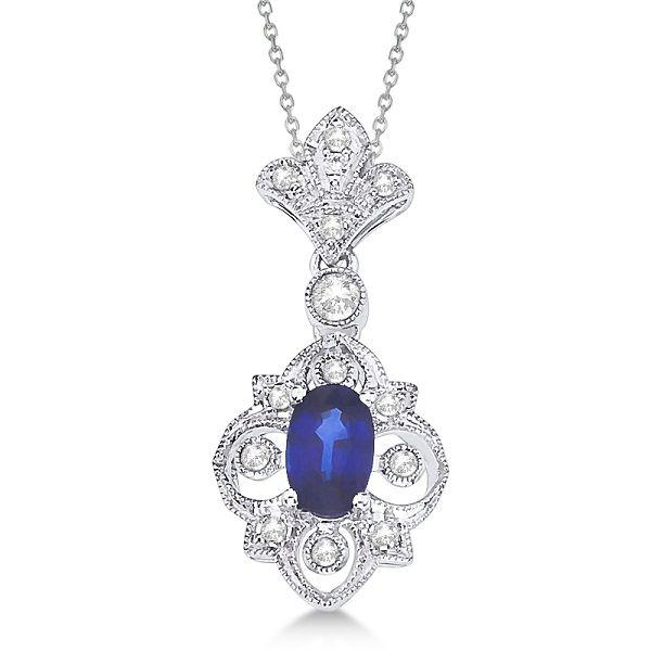 Fleur De Lis Sapphire & Diamond Necklace 14K White Gold (0.52ct)