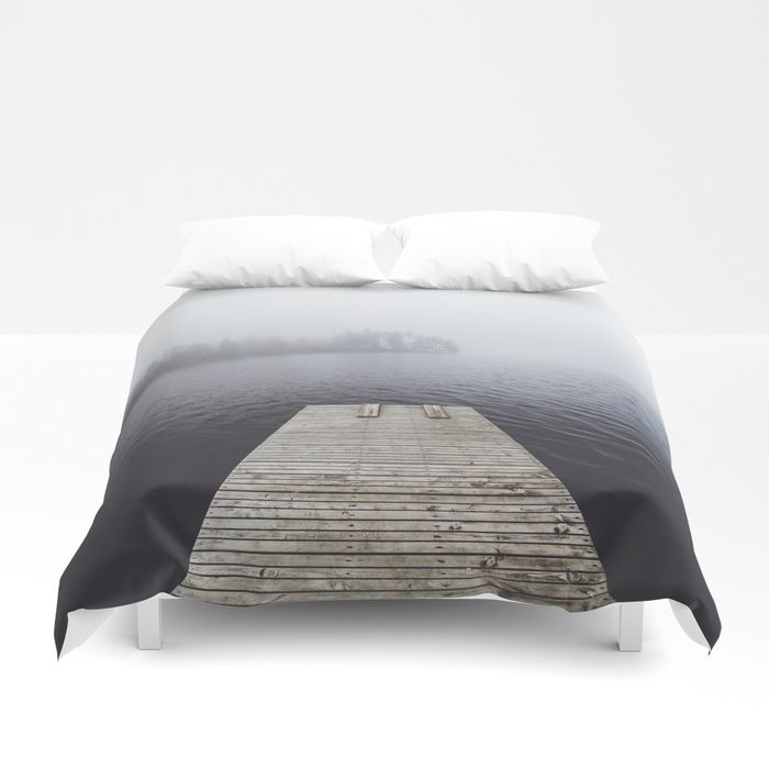 Fading into the mist Duvet Cover by happymelvin