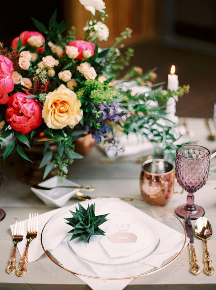 Colorful Garden Florals with Modern Metallic Decor   Milton Photography   http://heyweddinglady.com/colorful-boho-shoot-coral-copper/
