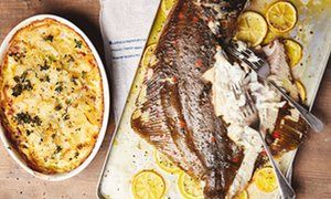 Plaice with potatoes baked in anchovy cream and grilled hispi cabbage with celeriac mash and ancho / aleppo chilli relish