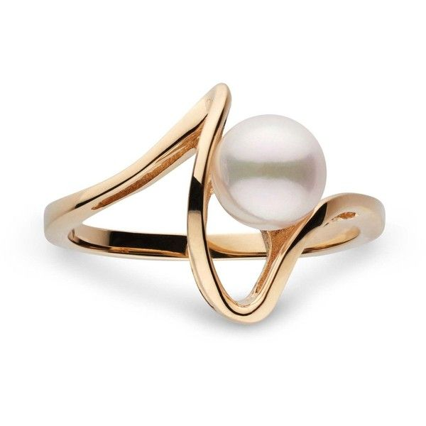 Cordon Collection Akoya Pearl Ring ($89) ❤ liked on Polyvore featuring jewelry, rings, pearl jewelry, 14 karat gold jewelry, white pearl ring, round ring and pearl jewellery
