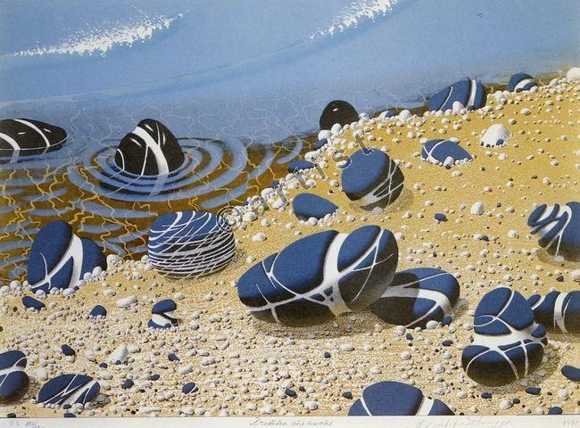 Κώστας Γραμματόπουλος, Στολίδια της ακτής, 1991, έγχρωμη λιθογραφία