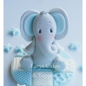 Boys Elephant Cake Topper Set - Blue  Blocks (including extras)