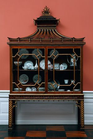 Porcelain Cabinet; Padouk by Thomas Chippendale, England, ca. 1750.