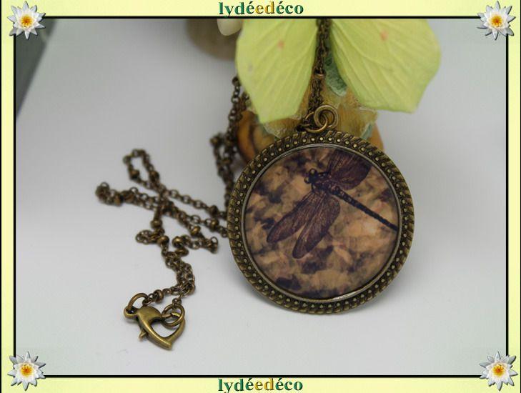Pendentif libellule or jaune