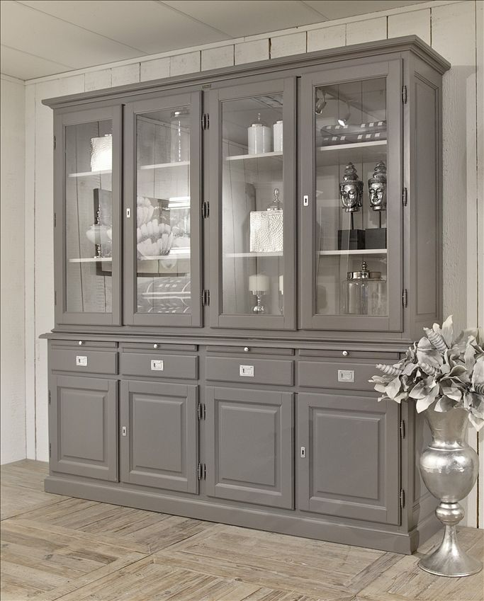 Buffetkast Roma 2x4 Deuren, love the gray. It would be an easy DIY project with the right piece.