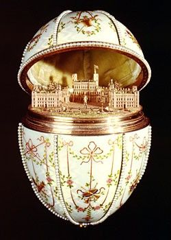 Faberge Gatchina Palace Egg 1901. Currently exhibit of an art museum of Walters, Baltimore, Maryland.