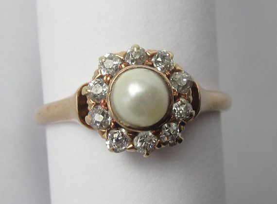 Antique Edwardian Pearl and Old Mine Diamond by magwildwoodscloset