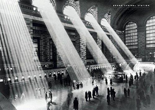 Grand Central Station-Vintage Black and White Photography Poster Print 24 by 36-Inch