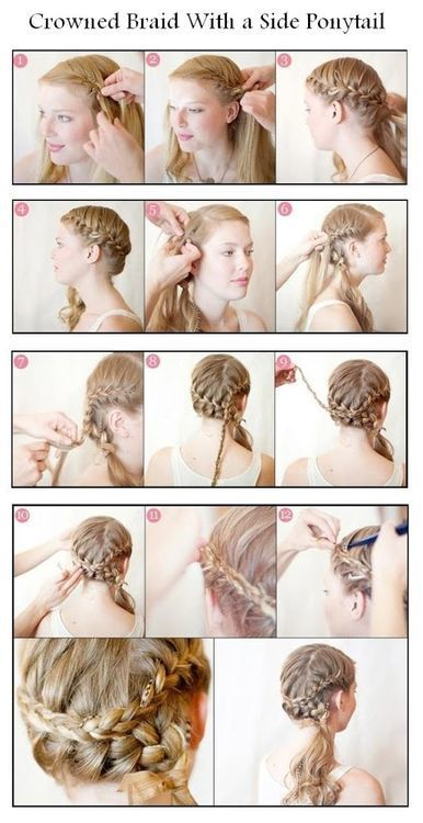 Crowned Braid with a side ponytail