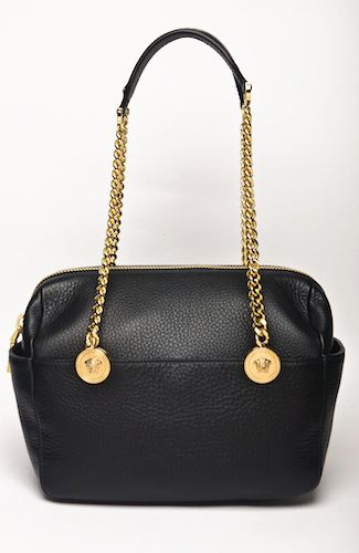 "Versace bag ""Trunk"" style bag, with outter pockets, top zipper, handles with leather and golden chain, Medusa metall details. Inner pockets. 25 cm width. 100%LEATHER Code: DBFE427DCEH"