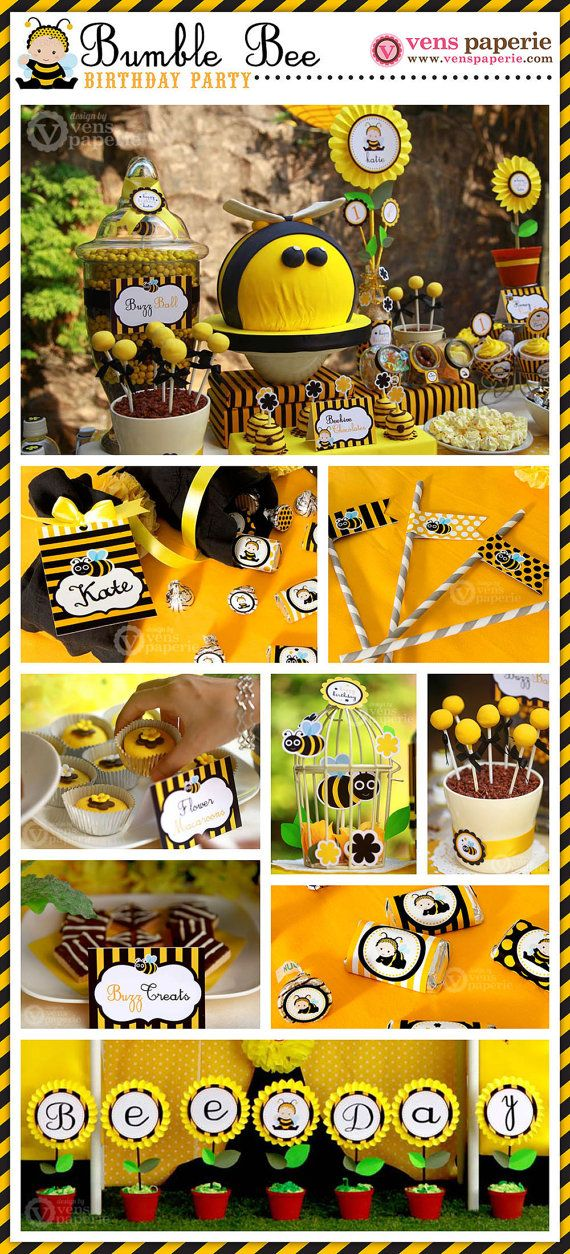 Baby Bumble Bee Birthday Party Package Personalized by venspaperie, $35.00