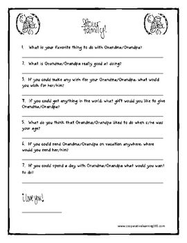A Grandparent's Day activity for students to fill out before their Grandparents arrive for the big day....