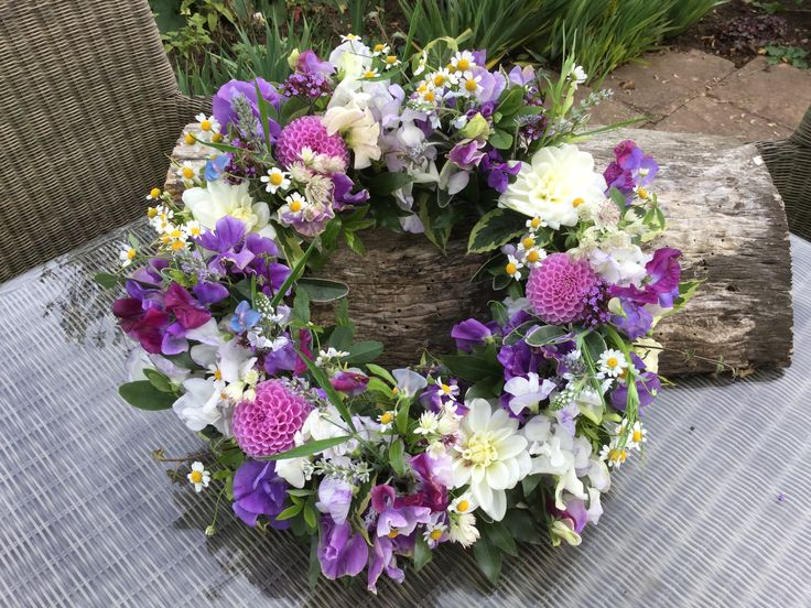Wreath ring, table arrangement, centre piece, All homegrown in our cottage garden, British flowers, Dahlias, Sweetpeas, feverfew.