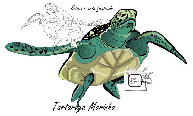 TARTARUGA MARINHA - Desenhando Esboço e arte finalizada de uma tartaurga marinha, depois numa outra, a ilustração completa. http://arterocha.blogspot.com.br Desenho - Ilustração - Illustration - Drawing