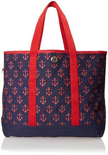 Tommy Hilfiger Canvas Anchor Print Large Shoulder Bag, Navy/Red, One Size Tommy Hilfiger on Amazon