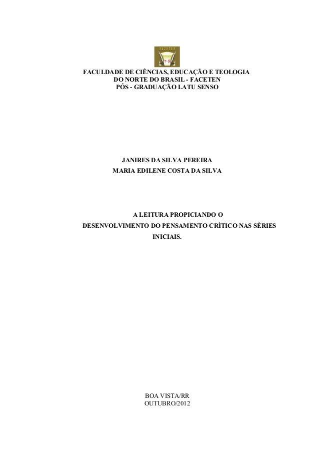 FACULDADE DE CIÊNCIAS, EDUCAÇÃO E TEOLOGIA       DO NORTE DO BRASIL - FACETEN       PÓS - GRADUAÇÃO LATU SENSO         JAN...
