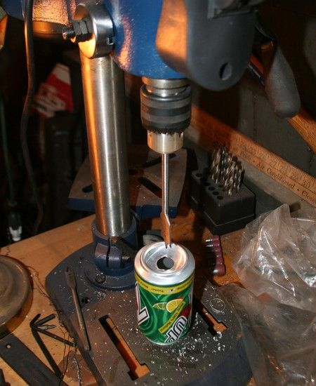 Almost free garage heat – just drink a lot of soda. 45 cans of soda on the drill, 45 cans of soda...