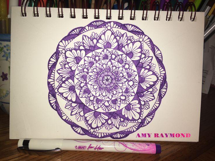 #mandala #sketch  by Amy Raymond 2/17/17.  #pigma #bw #doodle #inkart #mixedmedia #art #artismytherapist #zen #diy #draw #purple  #coloring