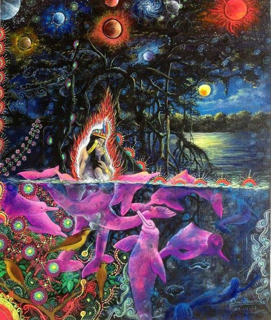 planets in the tree.. pink dolphins underneath the mangrove roots..  interesting concept.... looks old though